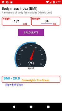 BMI Chart for adults poster