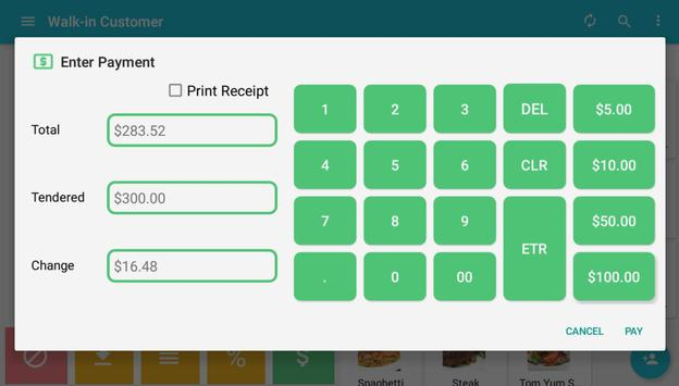 Tablet point of sales system apk screenshot