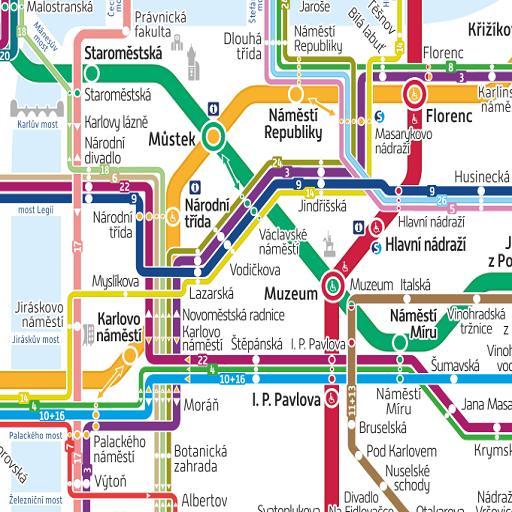 English map prague subway in Prague