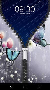 Butterfly Lock Screen Zipper apk screenshot