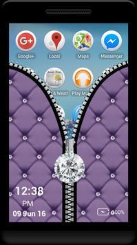 Purple Diamond Zipper Screen apk screenshot