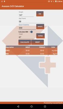Avacare CrCl Calculator screenshot 2