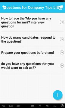 Questions for Company Tips apk screenshot