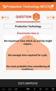 Production Technology MCQS apk screenshot