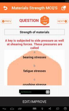 Materials Strength MCQs 스크린샷 2