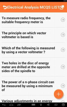 Electrical Analysis MCQs apk screenshot