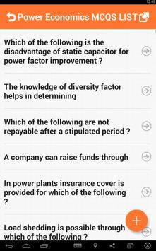 Power Economics MCQs apk screenshot