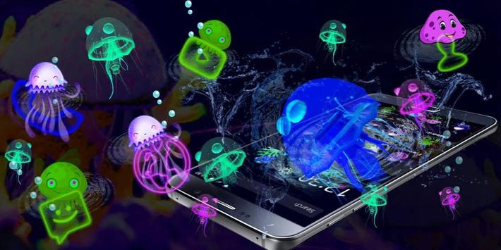 3D Cute Neon Jellyfish Theme screenshot 3
