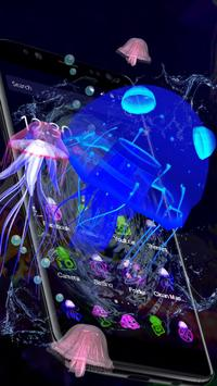3D Cute Neon Jellyfish Theme poster