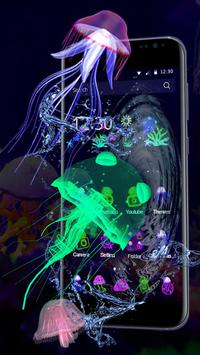 3D Cute Neon Jellyfish Theme screenshot 2