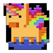 unicorn pixel art : unicorn number coloring book icon