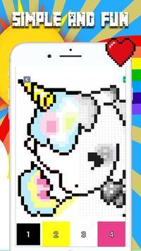 unicorn pixel art : unicorn number coloring book poster
