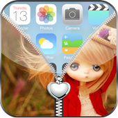 Cute Girl Zipper Lock Screen icon