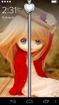 Cute Girl Zipper Lock Screen poster