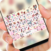 Cute Pink Love Heart Keyboard Princess Beauty icon
