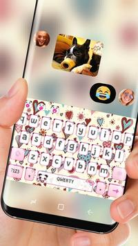 Cute Pink Love Heart Keyboard Princess Beauty apk screenshot