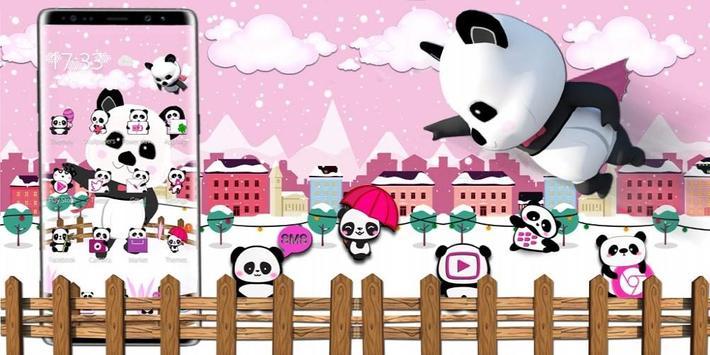 3d pink super panda theme screenshot 3