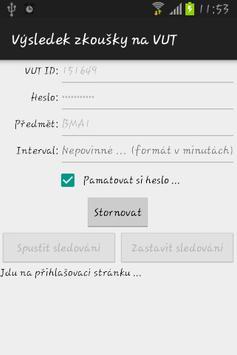 Výsledek zkoušky na VUT apk screenshot