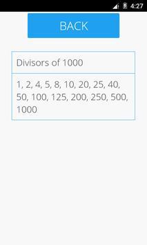 Divisors of a Number apk screenshot