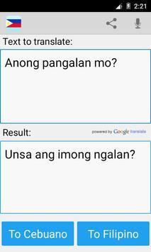 Filipino Cebuano Translator apk screenshot