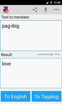 Tagalog English Translator apk screenshot