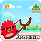 Angry Chicken Knock Down - Hungry Birds Slingshot icon