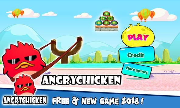 Angry Chicken Knock Down - Hungry Birds Slingshot poster