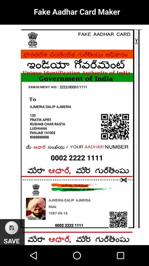 Fake Aadhaar Card ID Maker Prank for Android - APK Download