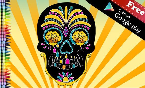 Adult Coloring Sugar Skull poster