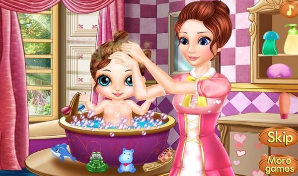 Newborn baby bath care poster