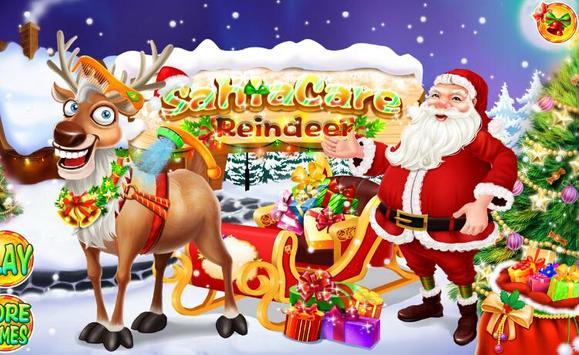 Christmas Santa Care Reindeer poster