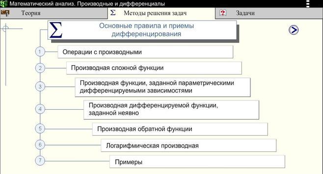 Производные. Мат.анализ screenshot 3