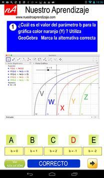 GeoGebra  modificar parámetros  función logaritmo screenshot 1