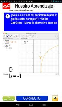 GeoGebra  modificar parámetros  función logaritmo screenshot 2