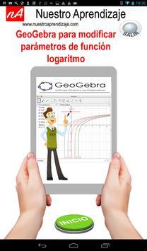 GeoGebra  modificar parámetros  función logaritmo screenshot 3