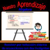 Resolver por reducción sistema de ecuaciones icon