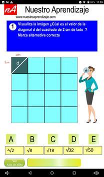 Calculan  la diagonal de cuadrado de 1 cm lado screenshot 1