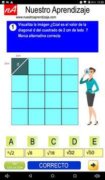 Calculan  la diagonal de cuadrado de 1 cm lado screenshot 2