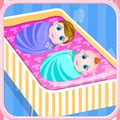Newborn twins girls games icon