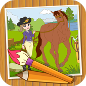 Coloringbook Horses icon