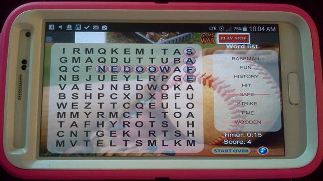 Baseball Word Search FREE poster
