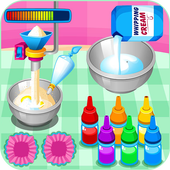 Cooking colorful cupcakes icon