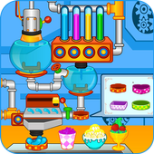 Ice cream and candy factory icon