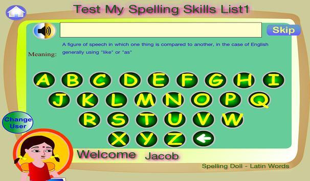 Spelling Doll Spanish English apk screenshot