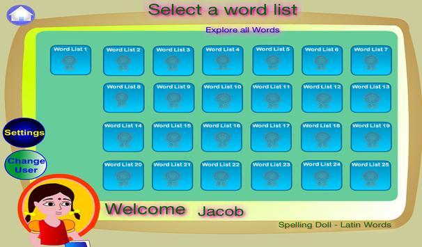 Spelling Doll Latin English apk screenshot
