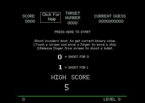 Binary Invaders 255 apk screenshot
