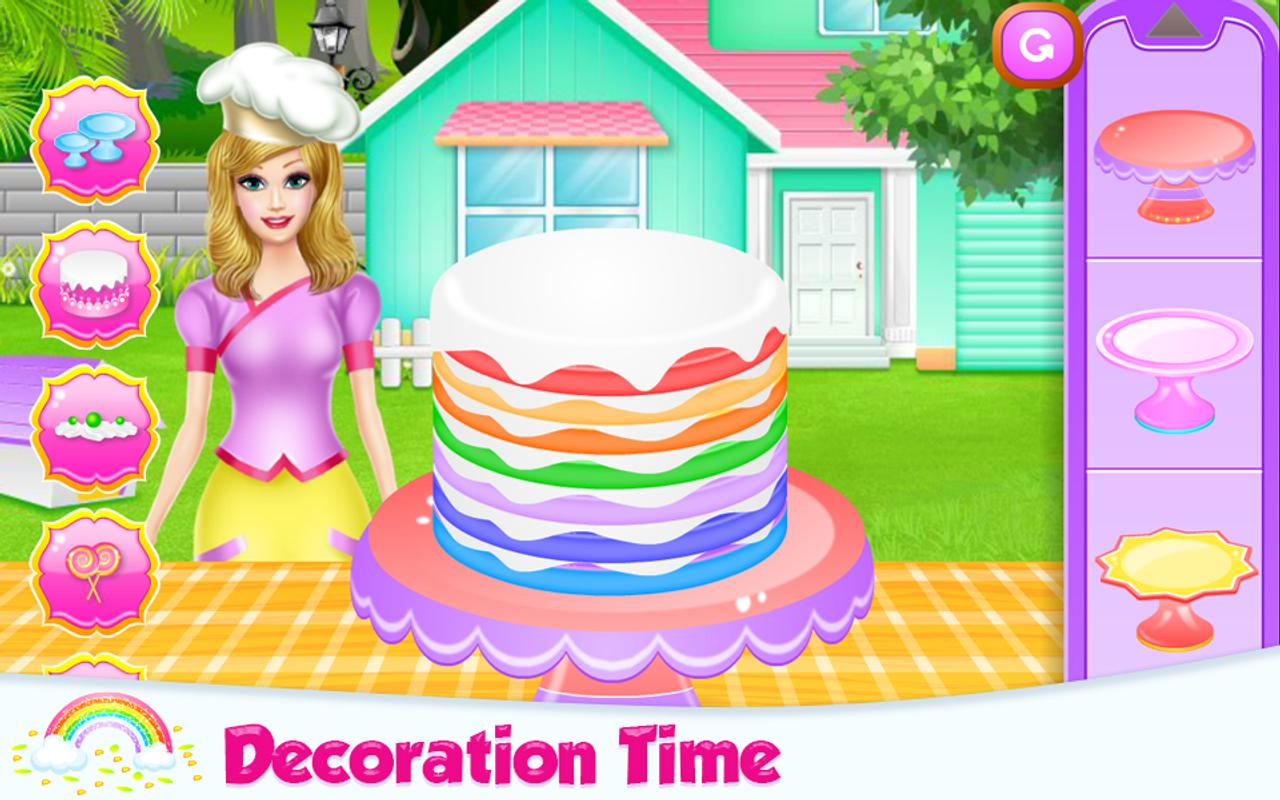 barbie cake decoration games lovely rainbow cake cooking apk free casual 10417
