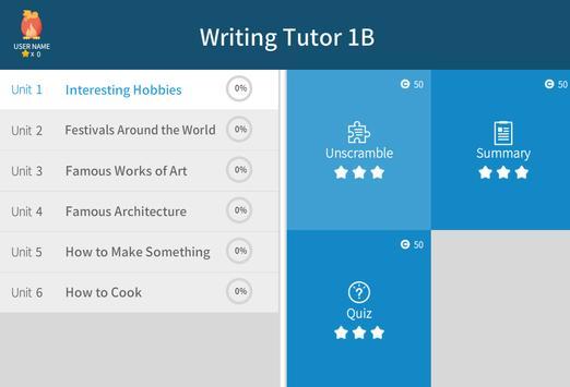 Writing Tutor 1B apk screenshot