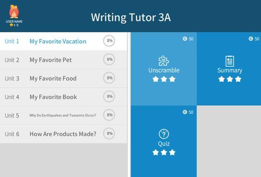 Writing Tutor 3A apk screenshot