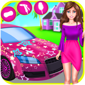 Cool Girl Car Cleaning icon